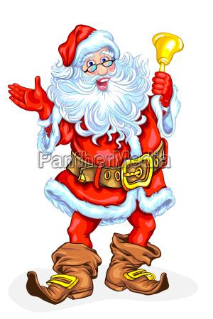 weihnachtsmann mit einer glocke