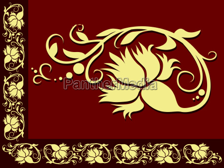 dark red floral border