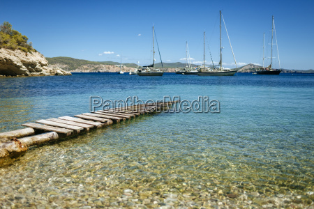 spain ibiza jetty in bay with
