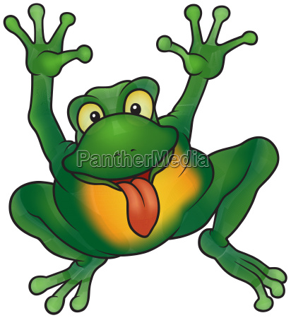 happy frog with hands up