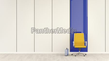 empty office chair and briefcase 3d