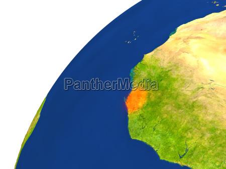 satellitenansicht des landes sierra leone