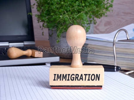 immigration stamp in office