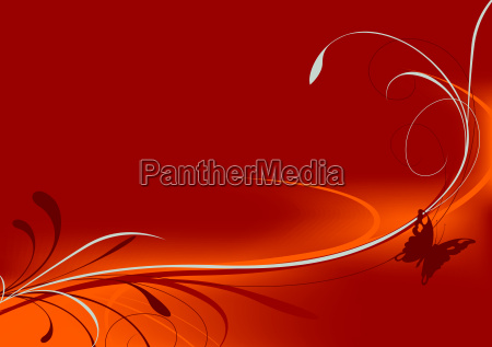 red background with butterfly and floral
