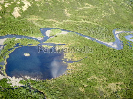 aerial view of a pond at
