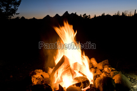 a campfire in front of the