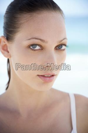 portrait young womans face