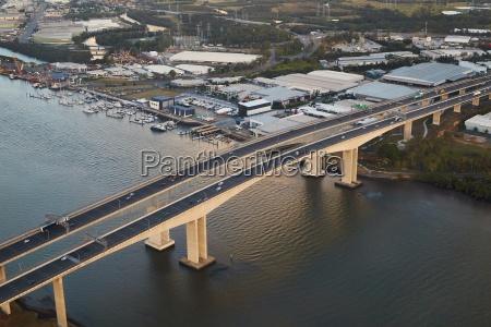 highway bridge over river aerial view