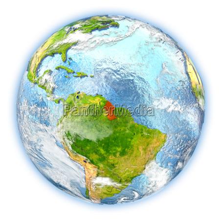 guyana auf der erde getrennt