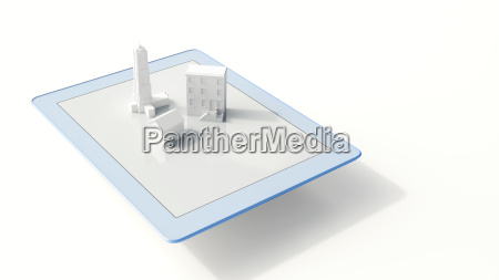 tablet with buildings 3d rendering