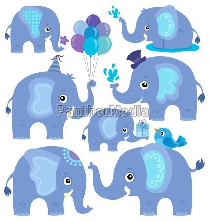 stylized elephants theme set 2