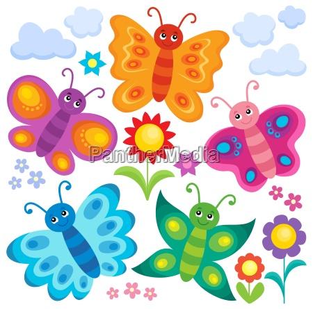 stylized butterflies theme set 1