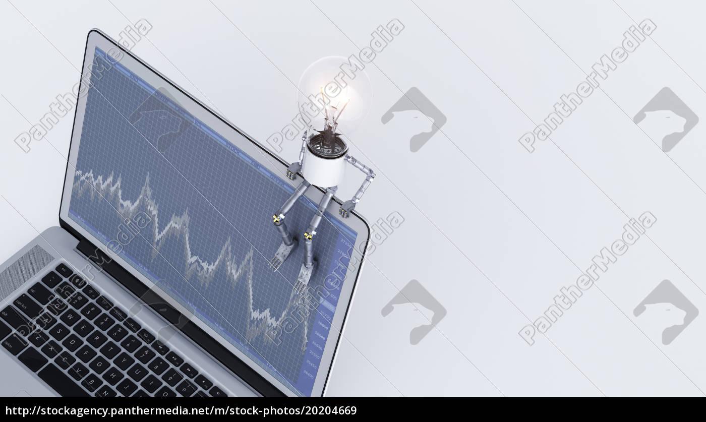 glühbirne, manikin, auf, laptop, mit, diagramm - 20204669