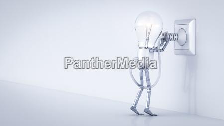 electric bulb manikin putting plug in