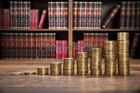 coins stack on table