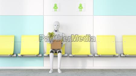 roboter mit karton und topfpflanze sitzt