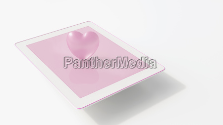 tablet with pink heart 3d rendering