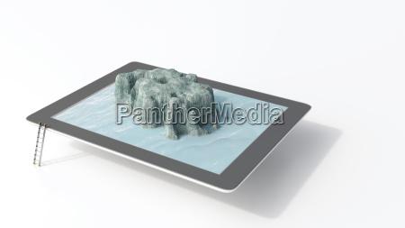 tablette mit seestueck 3d rendering