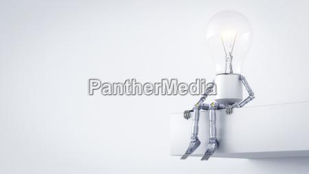 electric bulb manikin sitting on ledge