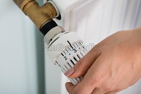 das hand einstell thermostat ventil der