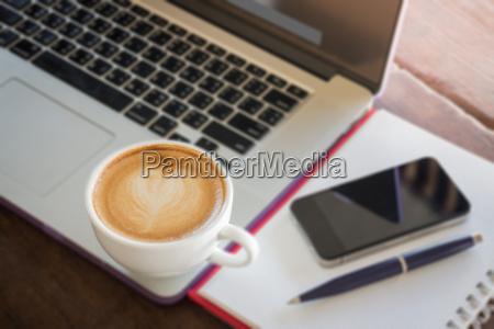 coffee latte on work table
