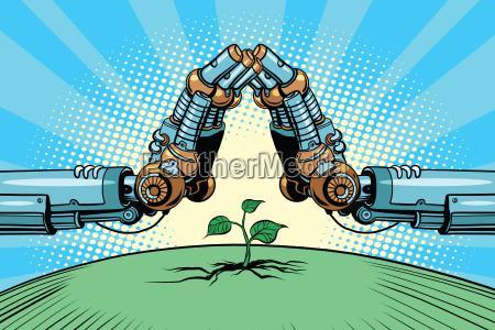 der roboterarm schuetzen gruen spriessen technologie