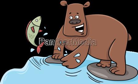 fishing bear cartoon character