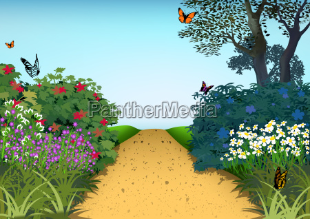 hilly path and flowering plants