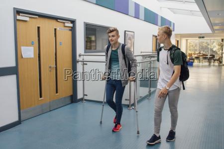 accompanying friend at school