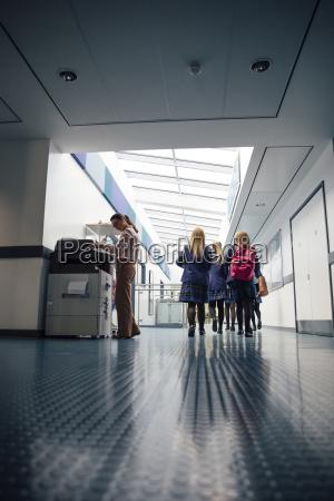 students in the corridor