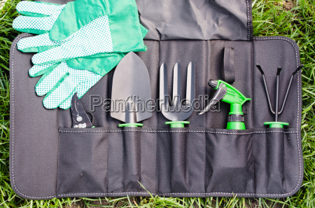 gardening tools in the bag on