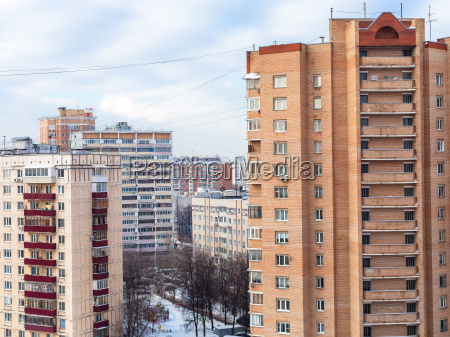 apartment houses in residential district in