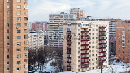 apartment buildings in winter