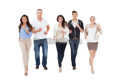 people running on white background