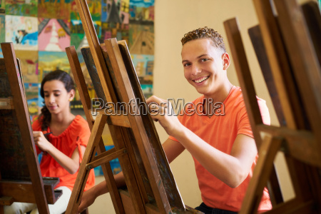 education in arts with happy student