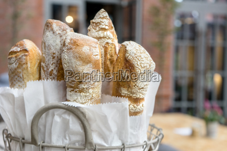 fresh crispy baguette in a basket
