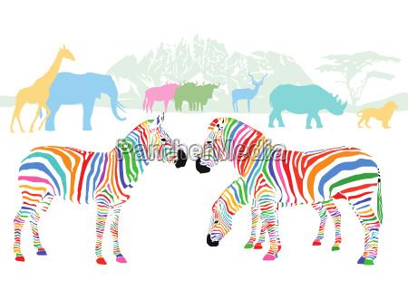 farbenfrohe wildtiere in der savanne