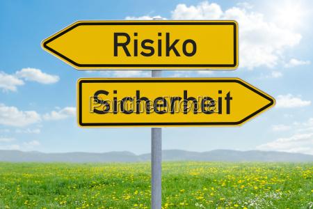 pfeilwegweiser risiko oder sicherheit