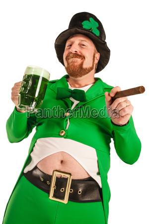 happy leprechaun with green beer