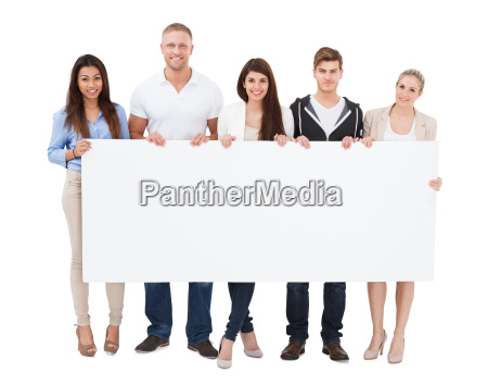 people holding billboard on white background