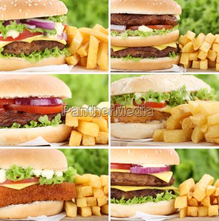 hamburger sammlung collage cheeseburger mit pommes
