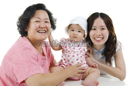 multi generationen asiatische familie