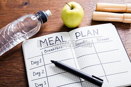 meal plan concept on wooden desk