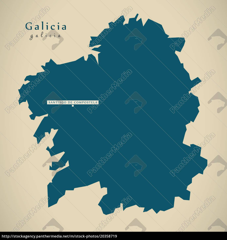 moderne karte - galicia spanien es illustration - Lizenzfreies Bild on