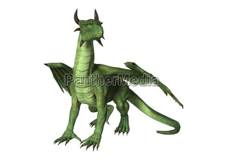 3d rendering fantasy dragon na bialym