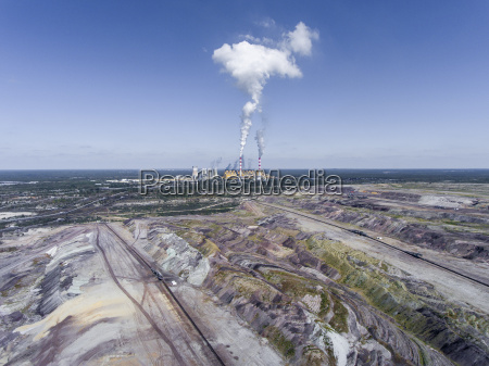 surface coal mining and power station