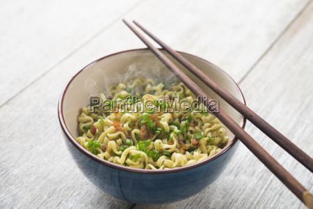 asian dried ramen noodles bowl