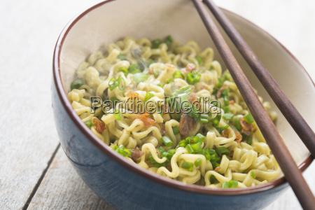 asian dried ramen noodles close up