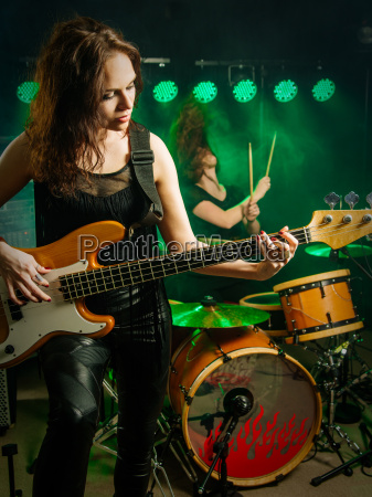 women playing in the band