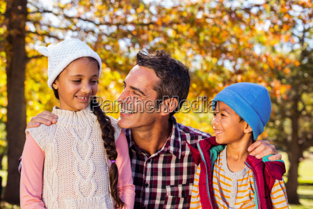 father with son and daughter at